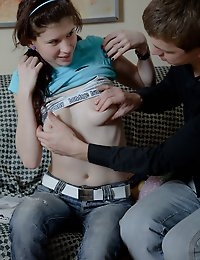 Awesome brunette teen gets her pussy humped and then creamed photo #4